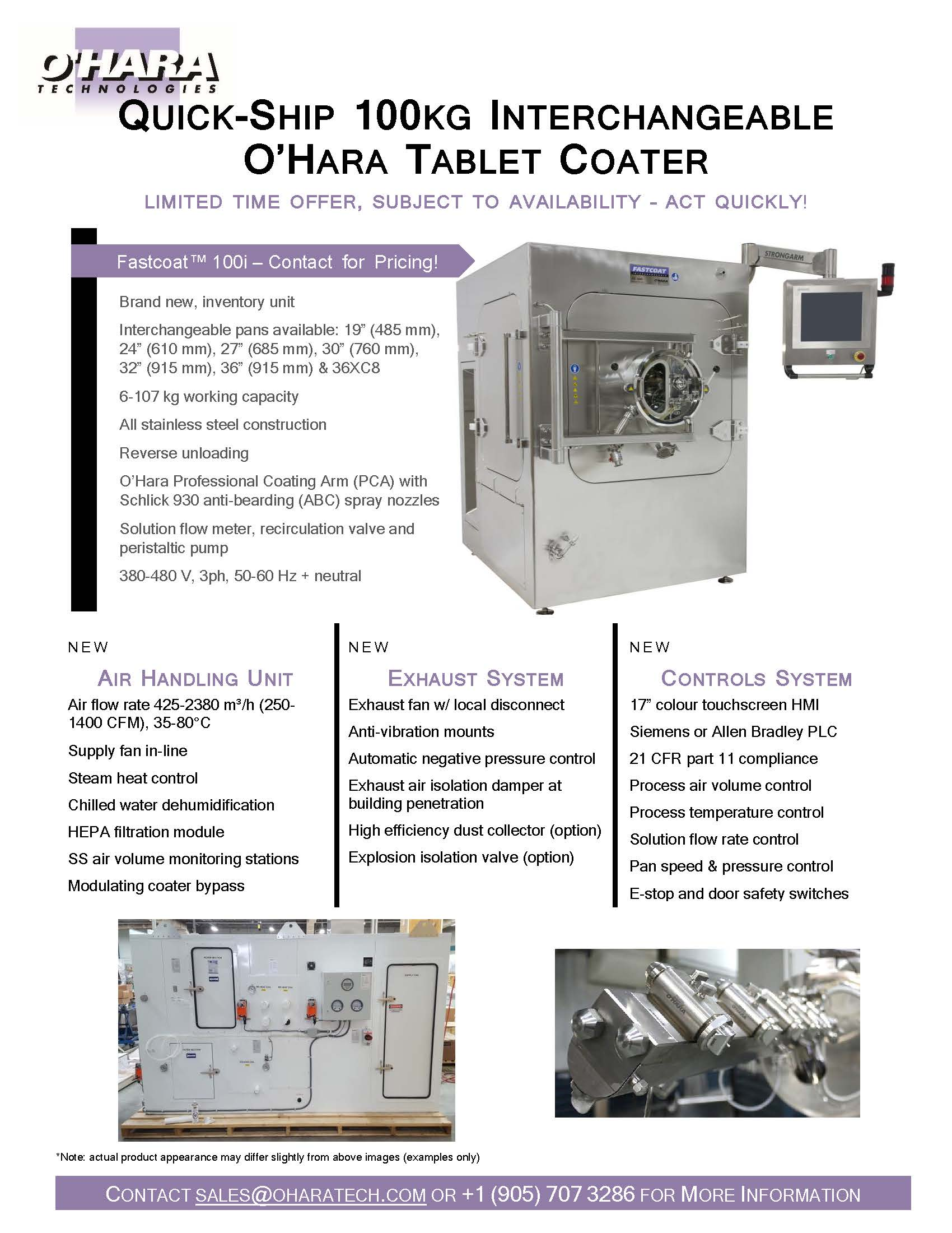 BRAND NEW QUICK-SHIP 100 KG INTERCHANGEABLE O'HARA TABLET COATER