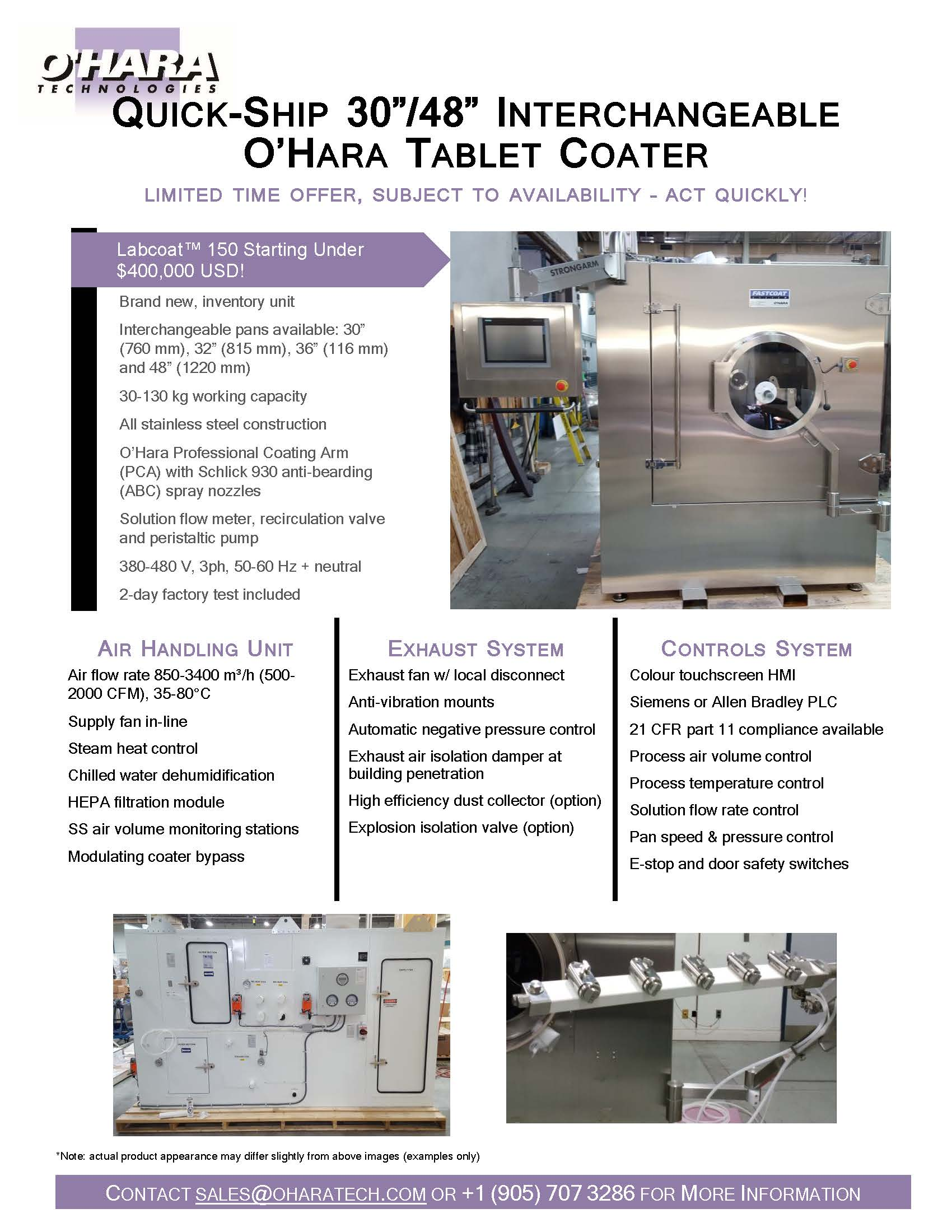 "BRAND NEW QUICK-SHIP 30""/48"" INTERCHANGEABLE O'HARA TABLET COATER"